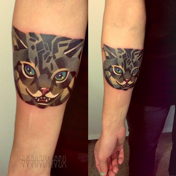 Художественная татуировка «Чеширский кот». Мастер Саша Unisex.