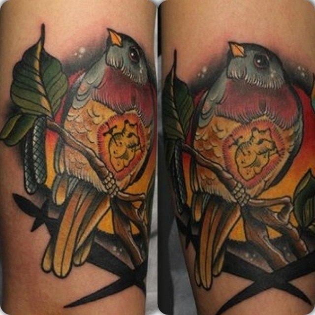 Художественная татуировка Птица от мастера Александра Соды
