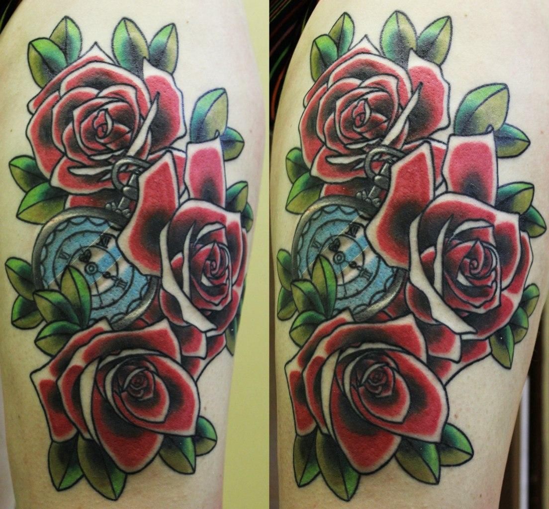 """Художественная татуировка """"Розы"""". Мастер Андрей Бойцев."""