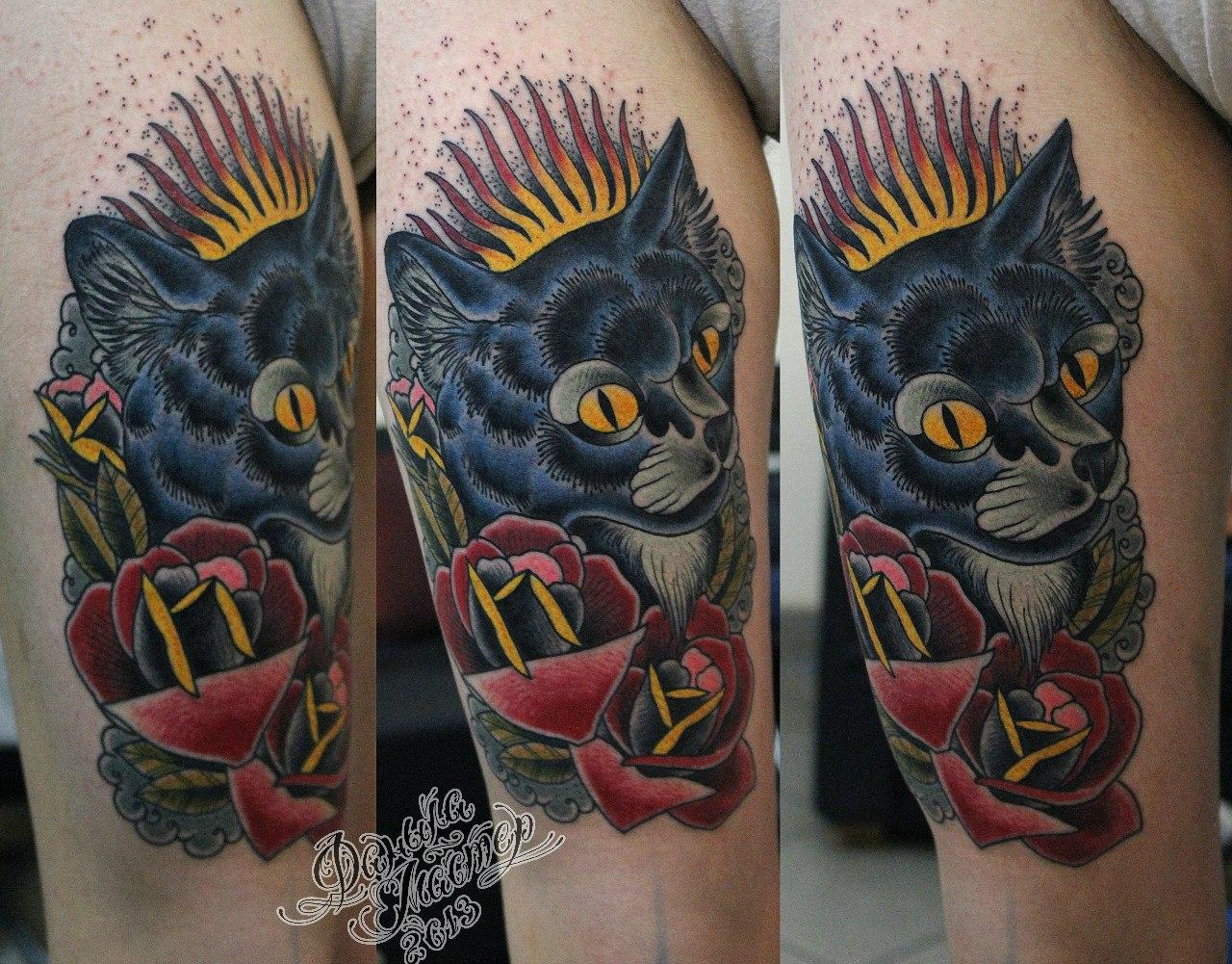 """Художественная татуировка """"Котик"""" от Данилы-мастера."""