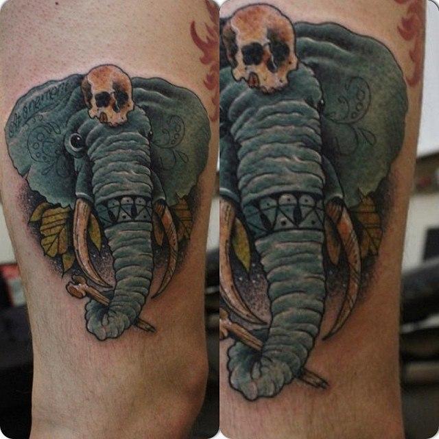 Художественная татуировка Слон от Александра Соды