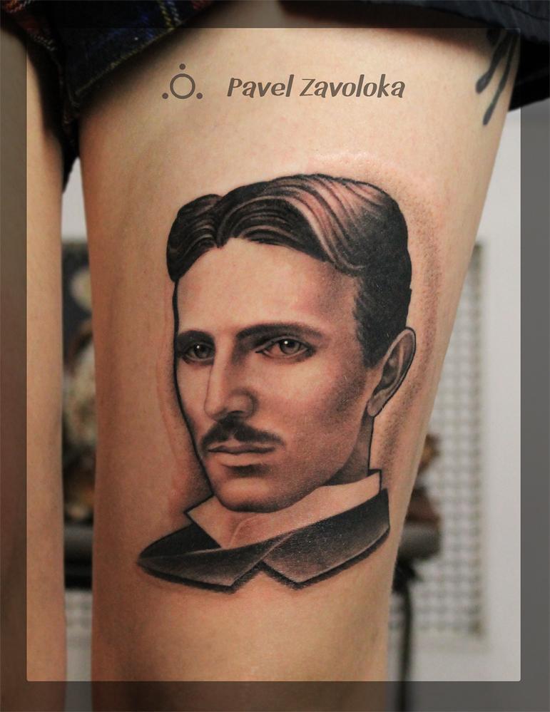 """Художественная татуировка. Портрет. """"Тесла"""". Мастер Павел Заволока."""