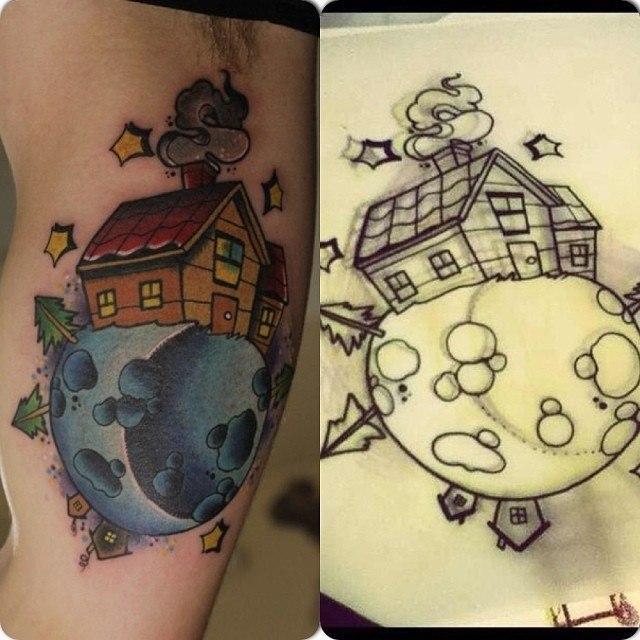 Художественная татуировка «Дом на луне». Мастер Александр Сода.