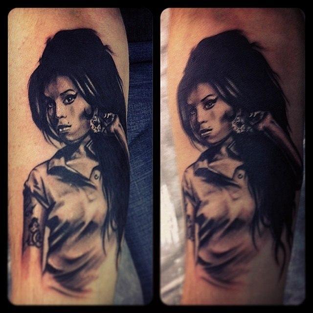 """Художественная татуировка """"Amy Winehouse"""" от Валеры Моргунова."""