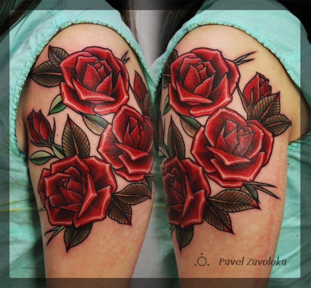 """Художественная татуировка """"Розы"""". Мастер Павел Заволока."""