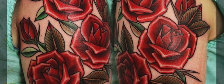 Художественная татуировка «Розы». Мастер Павел Заволока.