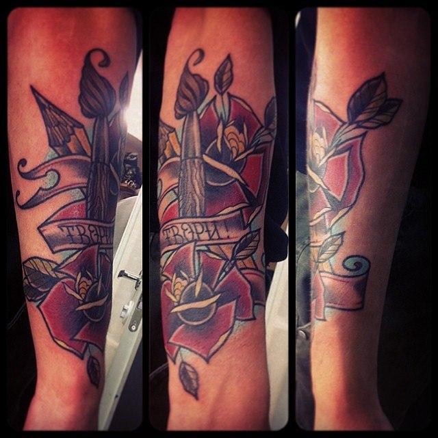 """Художественная татуировка """"Твори!"""" от Валеры Моргунова."""