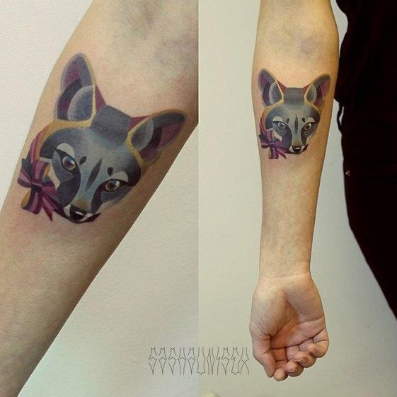 """Художественная татуировка """"Лиса"""" от Саши Unisex."""
