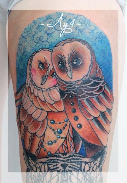 Художественная татуировка «Совы». Мастер Катя Луч.