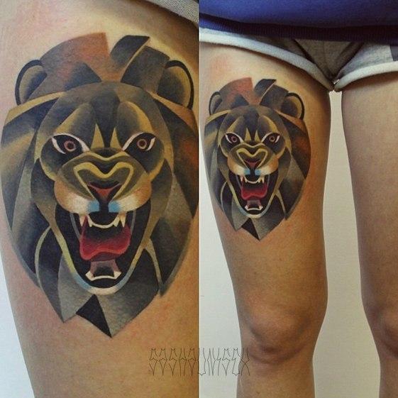 """Художественная татуировка """"Свирепый лев"""" от Саши Unisex."""