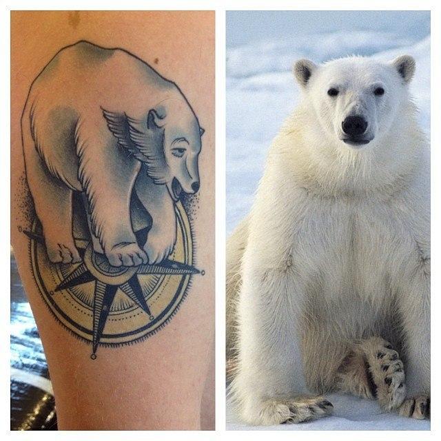 """Художественная татуировка """"Белый медведь"""". Мастер Александр Сода Николаев."""