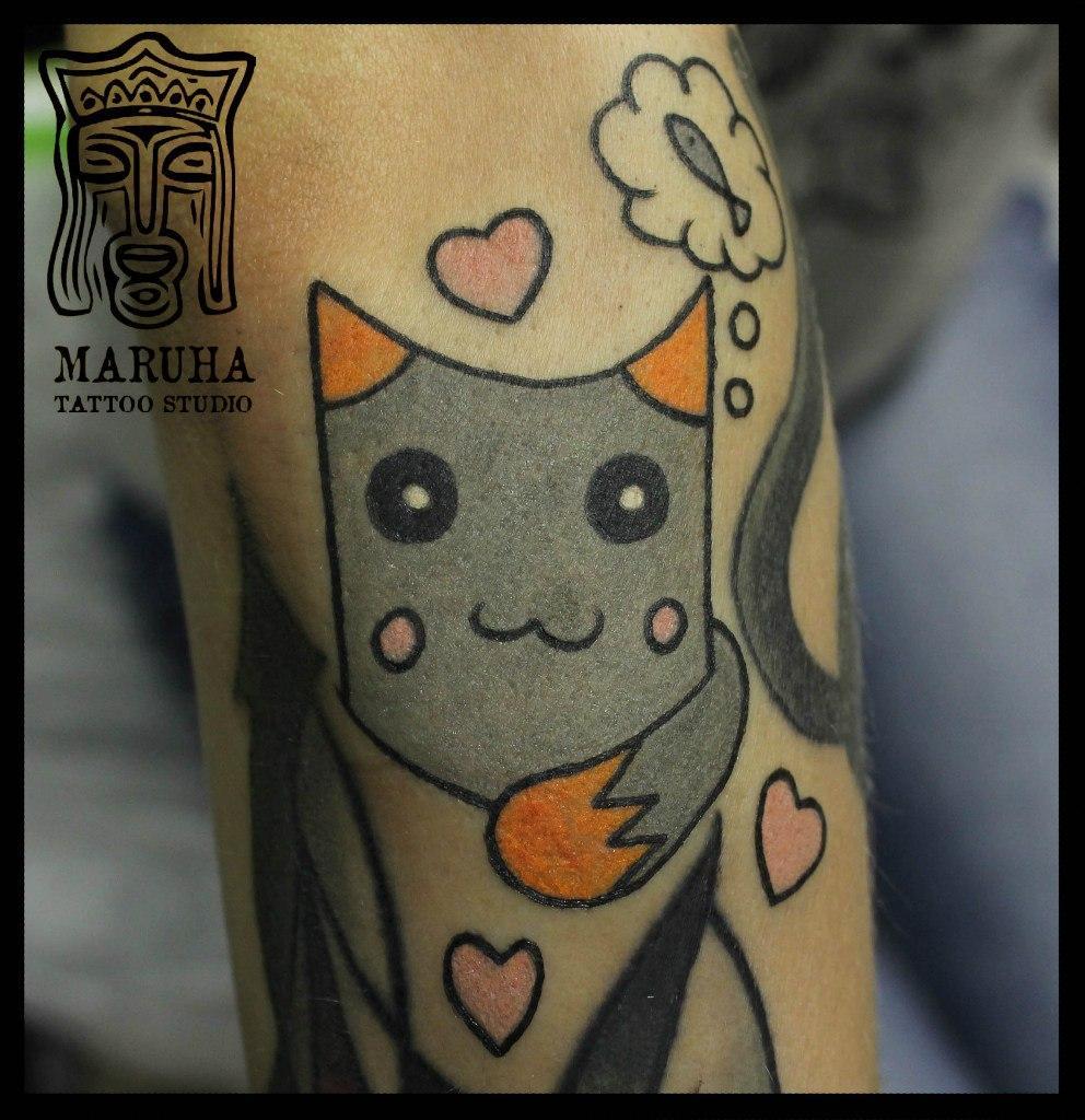 """Художественная татуировка """"Котик"""". Мастер Андрей Бойцев."""