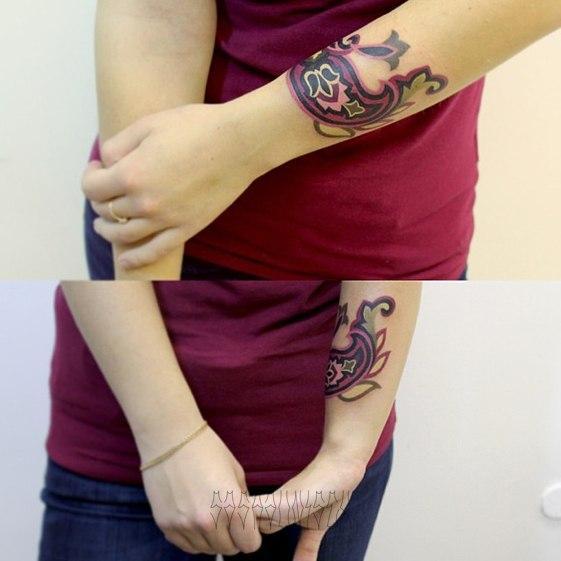 """Художественная татуировка """"Пейсли"""" от Саши Unisex."""
