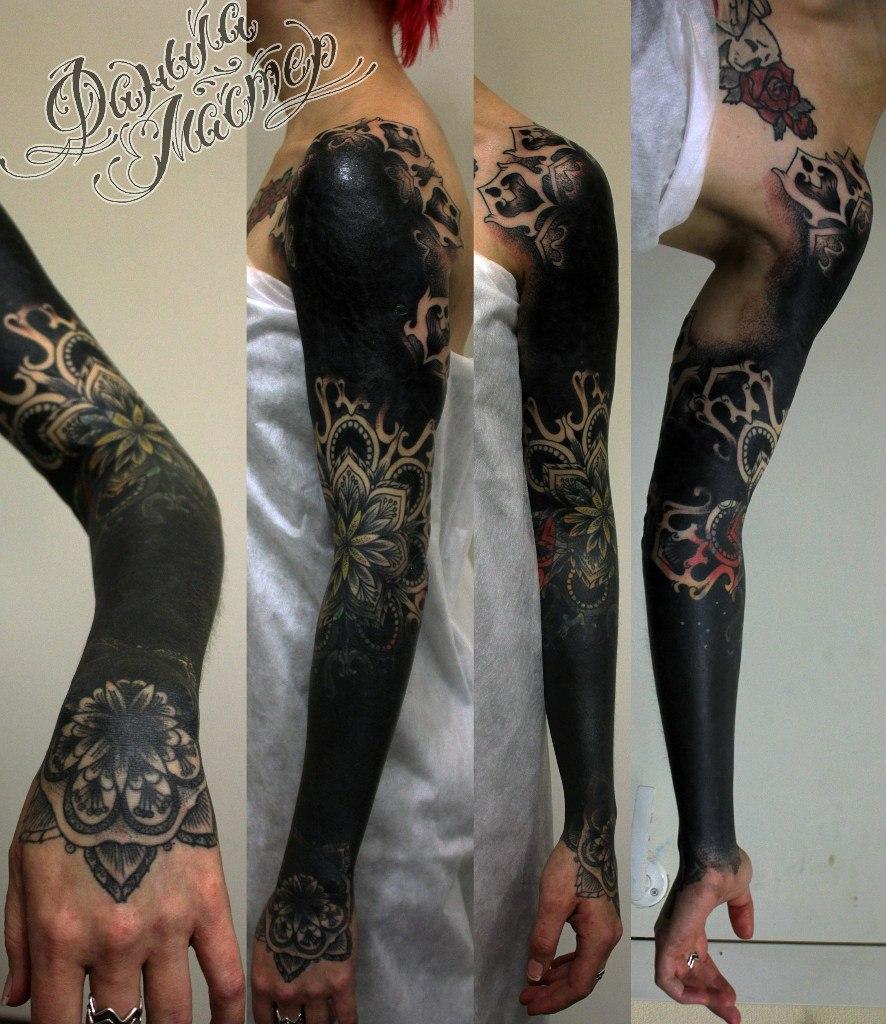 Перекрытие старой татуировки от Данилы-мастера.