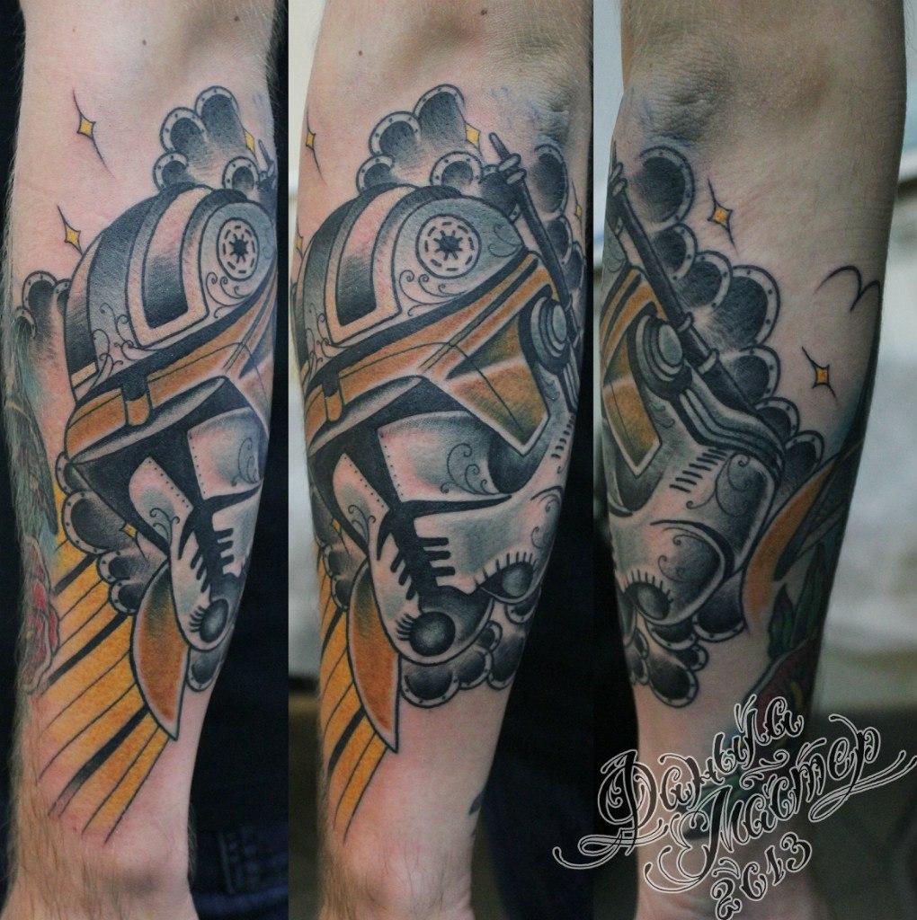 """Художественная татуировка """"Штурмовик"""" от Данилы-мастера."""