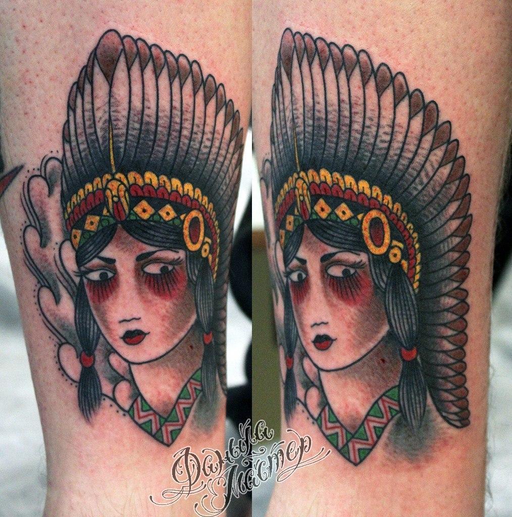 """Художественная татуировка """"Индианка"""" от Данилы-мастера."""