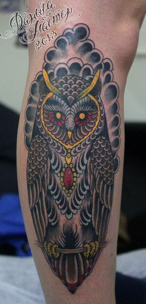 """Художественная татуировка """"Сова"""" от Данилы-мастера."""
