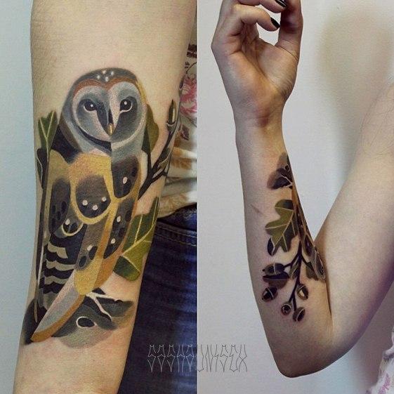 """Художественная татуировка """"Совушка"""" от Саши Unisex."""