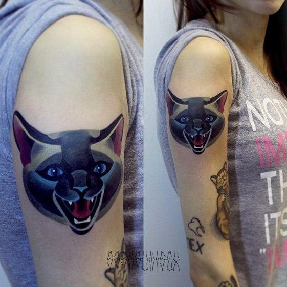 """Художественная татуировка """"Кот"""" от мастера Саши Unisex."""