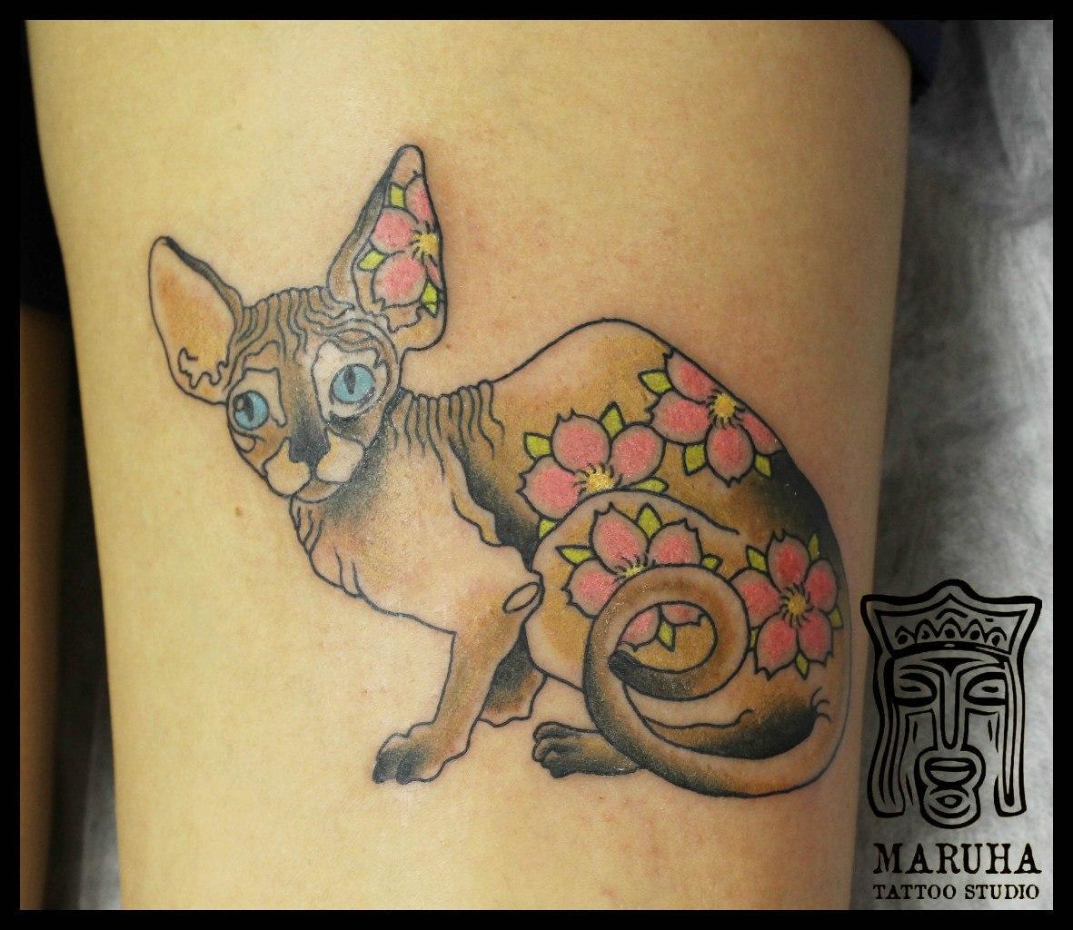 """Художественная татуировка """"Кошка"""". Мастер Андрей Бойцев."""