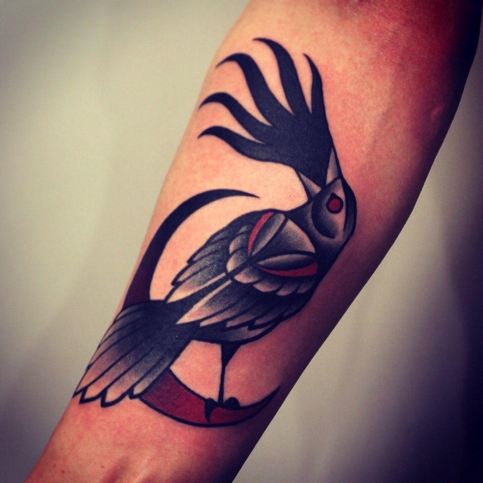 """Художественная татуировка """"Птица"""". Мастер Денис Марахин."""