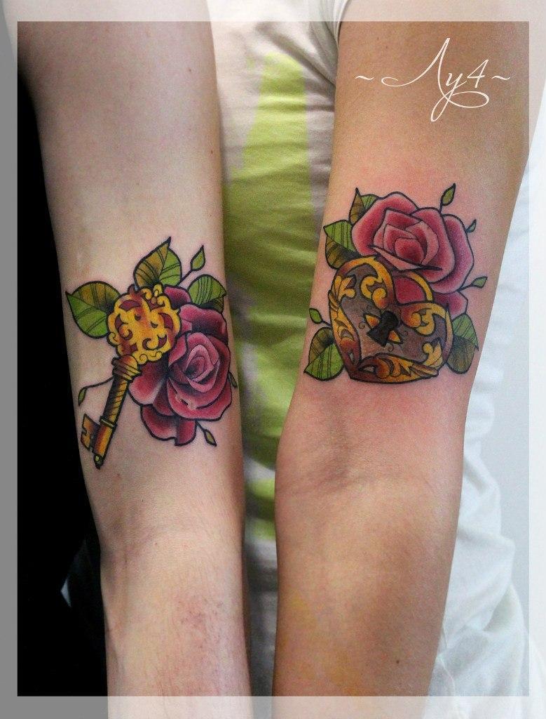 Художественная татуировка парная «Ключ и Замок». Мастер Катя Луч.