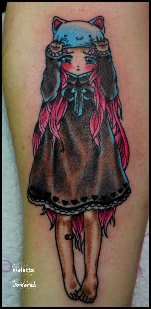 """Татуировка """"Аниме девочка"""". Мсатер Виолетта."""