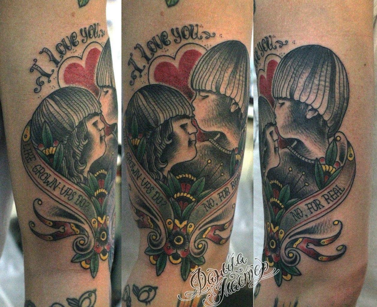 """Художественная татуировка """"I love you"""" в исполнении Данилы-Мастера"""