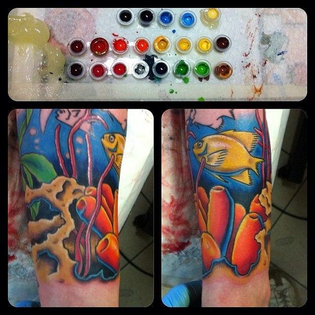 """Рукав """"Крым"""" в процессе от мастера художественной татуировки Евгения Химика."""
