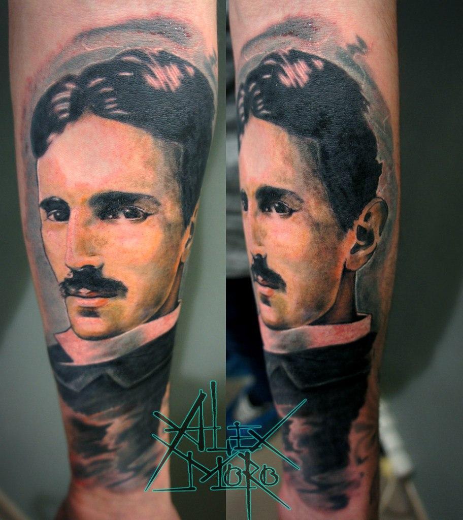 "Художественная татуировка ""Никола Тесла"" от Александра Морозова"