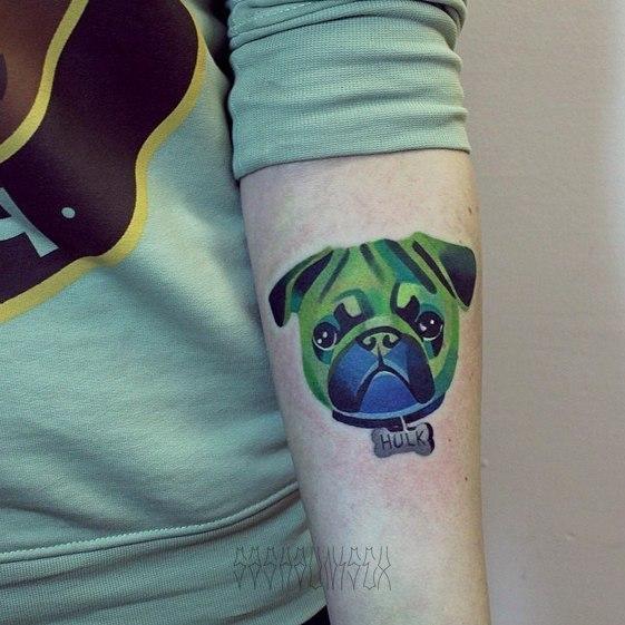 """Художественная татуировка """"Мопсик"""" от мастера Саши Unisex."""
