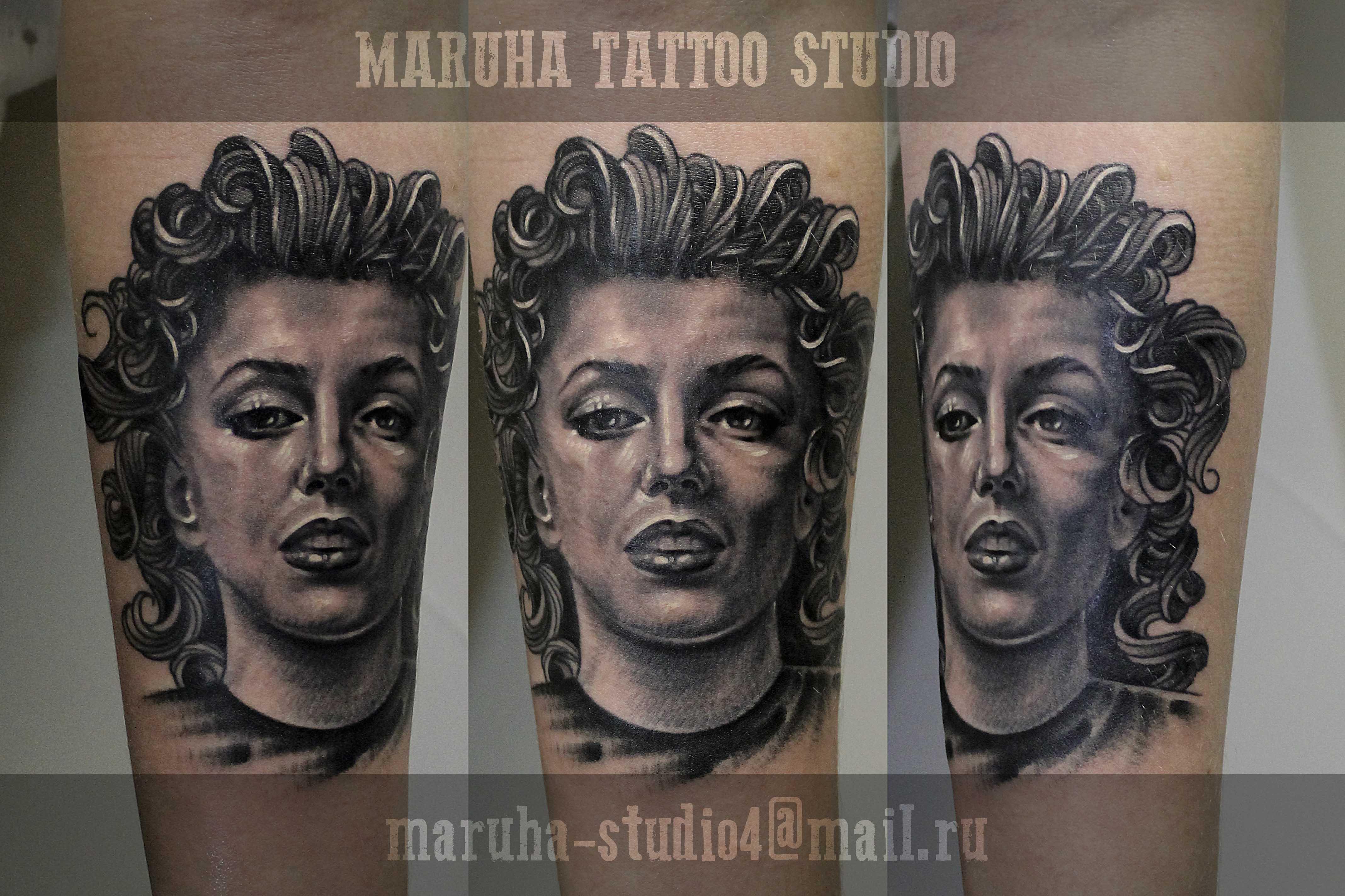 """Портрет """"Мэрилин Монро"""" от мастера художественной татуировки Валеры Моргунова."""