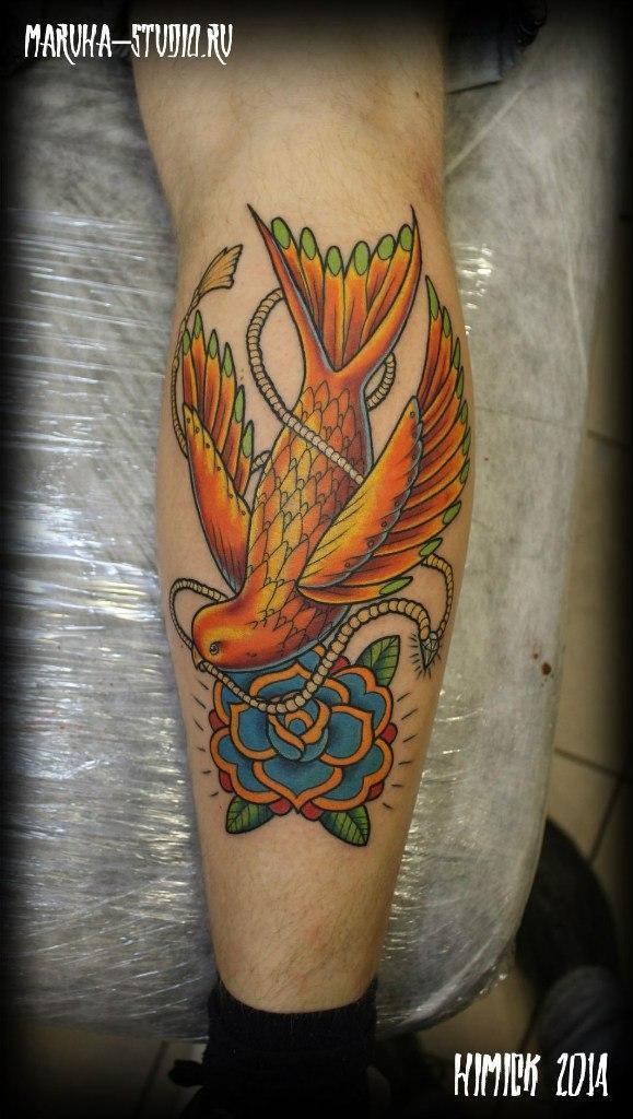 """Художественная татуировка """"Диво птица"""" от Евгения Химика."""