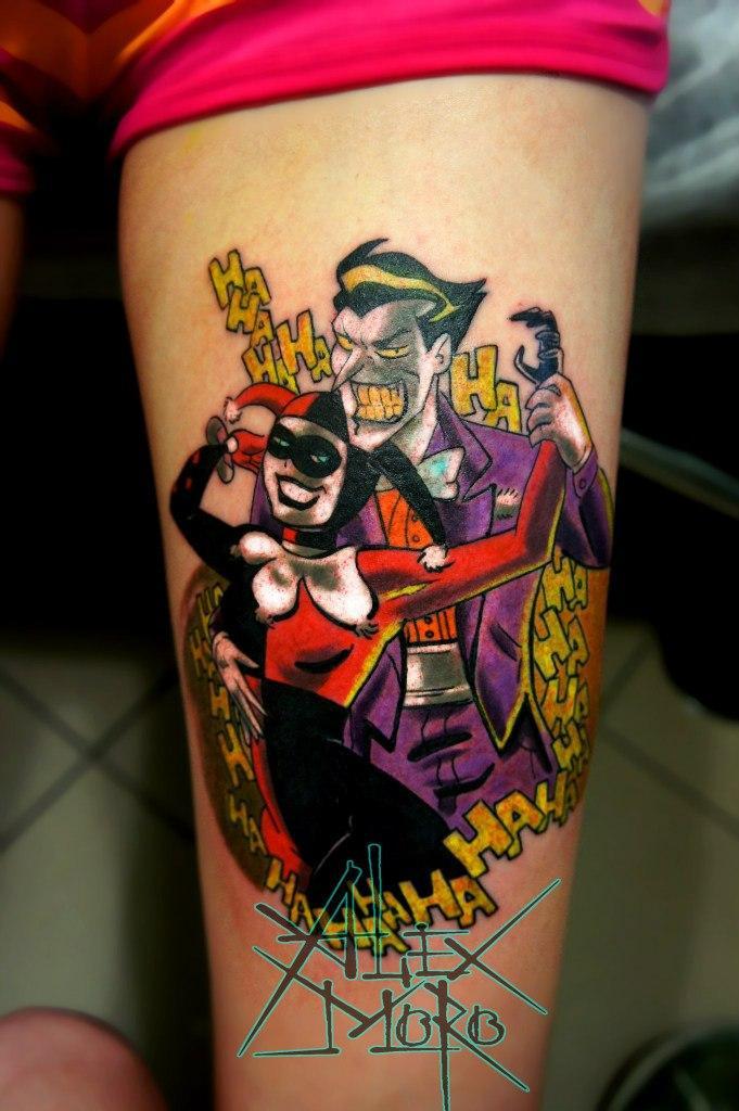 """Художественная татуировка """"Джокер и Харли"""" от Александра Морозова"""