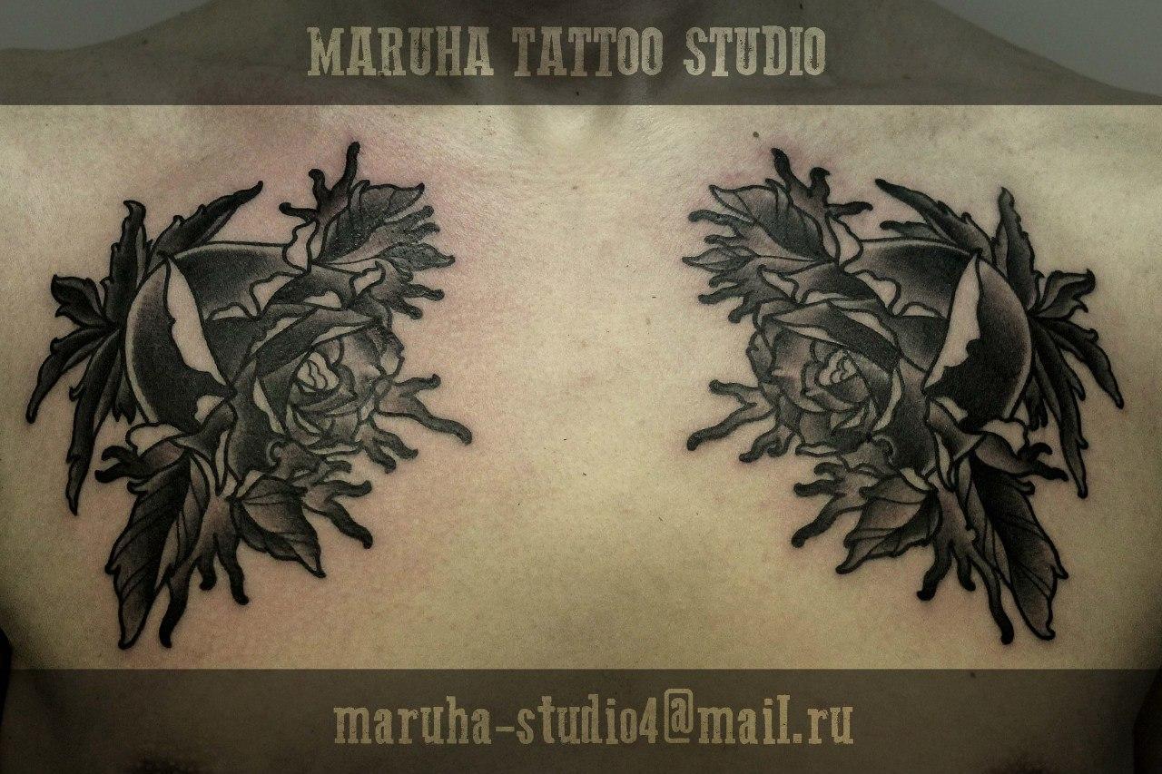 """Художественная татуировка """"Розы"""" от Валеры Моргунова."""
