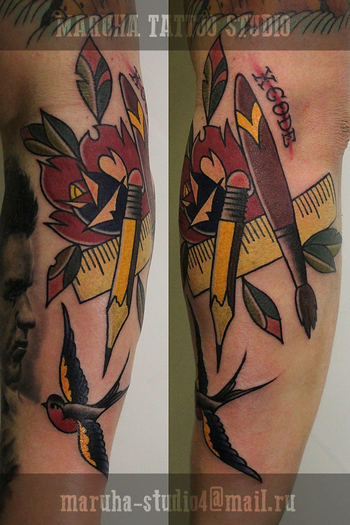 """Художественная татуировка """"Твори!"""". Мастер Валера Моргунов."""