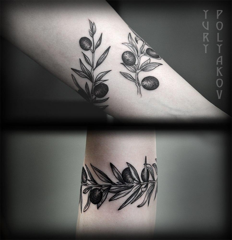 """Художественная татуировка """"Оливковая ветвь"""" от Юрия Полякова"""