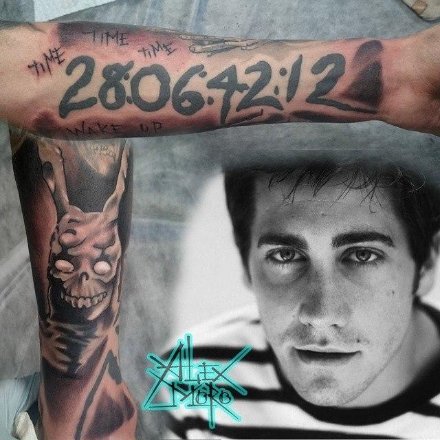 Рукав по мотивам фильма «Донни Дарко» от мастера художественной татуировки Александра Морозова