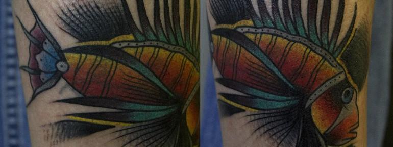 художественная татуировка «Рыба петушок». Мастер Вова Snoop.