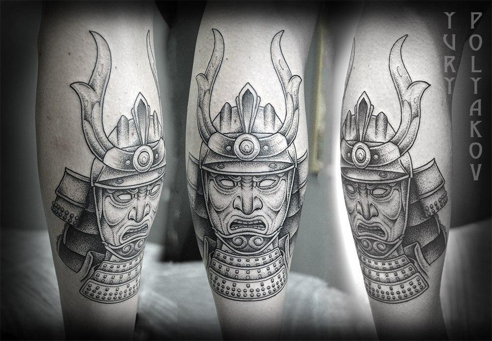 """Художественная татуировка """"Маска самурая"""" от Юрия Полякова"""