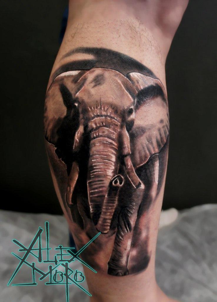 """Художественная татуировка """"Слон"""" от Александра Морозова"""