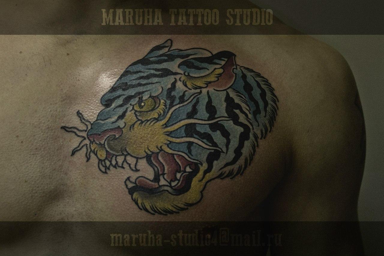 """Художественная татуировка """"Тигр"""". Мастер Валера Моргунов."""