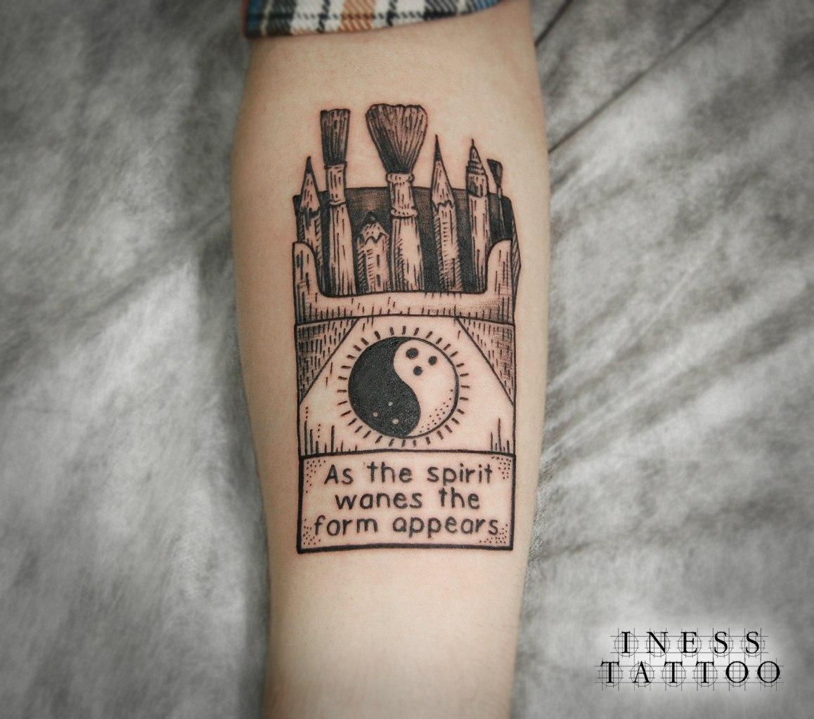 """Художественная татуировка """"Пачка сигарет"""" от Инессы Кефир"""