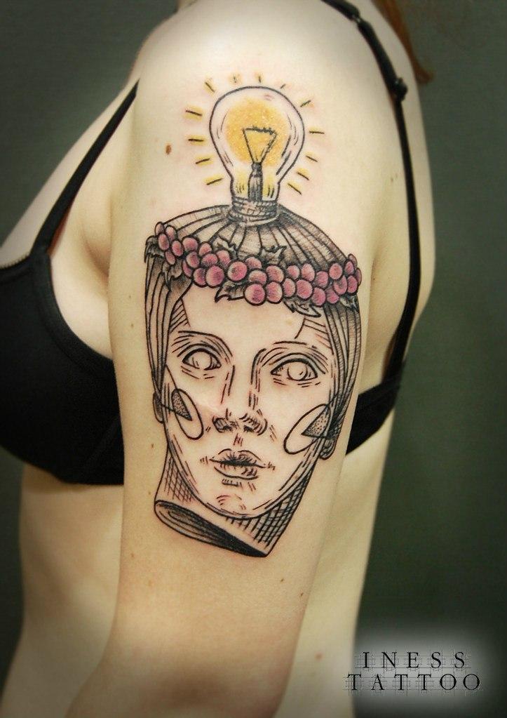 """Художественная татуировка """"Девушка"""" от Инессы Кефир"""