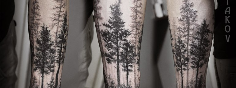 Художественная татуировка «Лес» от Юрия Полякова