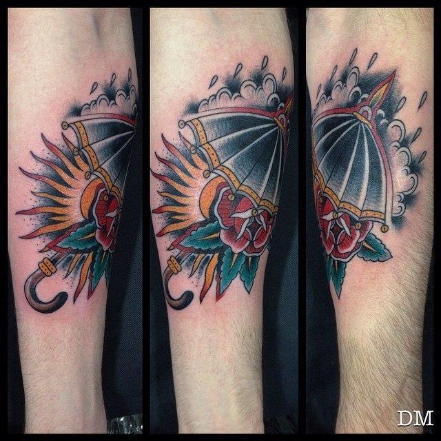 Художественная татуировка «Зонт» от Данилы-Мастера