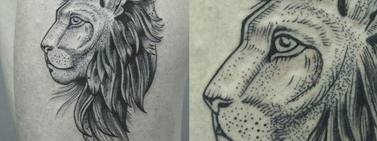 Художественная татуировка «Царь зверей». Мастер Ксения Jokris Соколова.