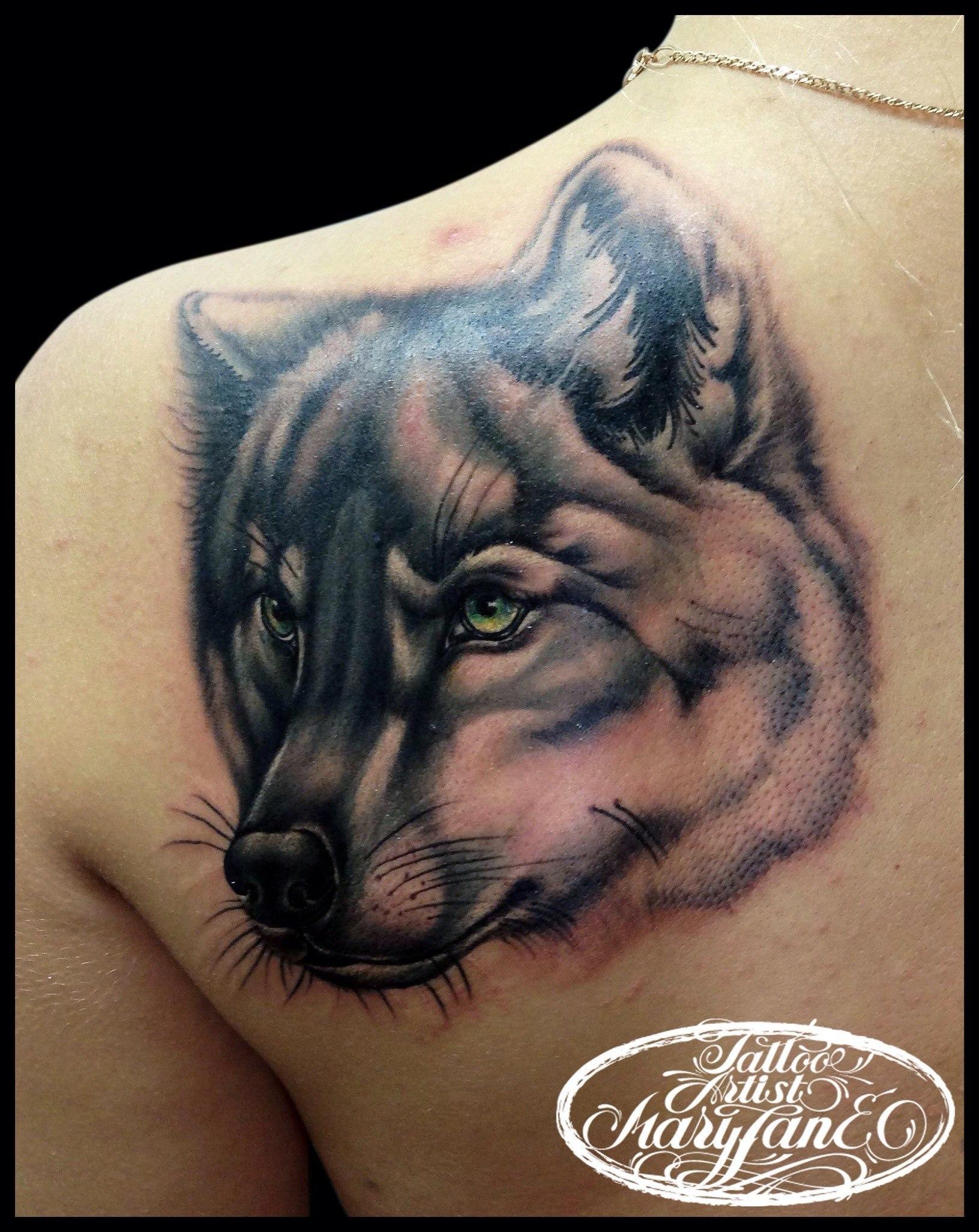 "Художественная татуировка ""Волк"". Мастер Мадина Mary Jane."