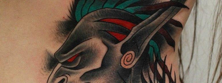 Художественная татуировка «индеец». Выполнена мастером Вовой Snoop'ом.