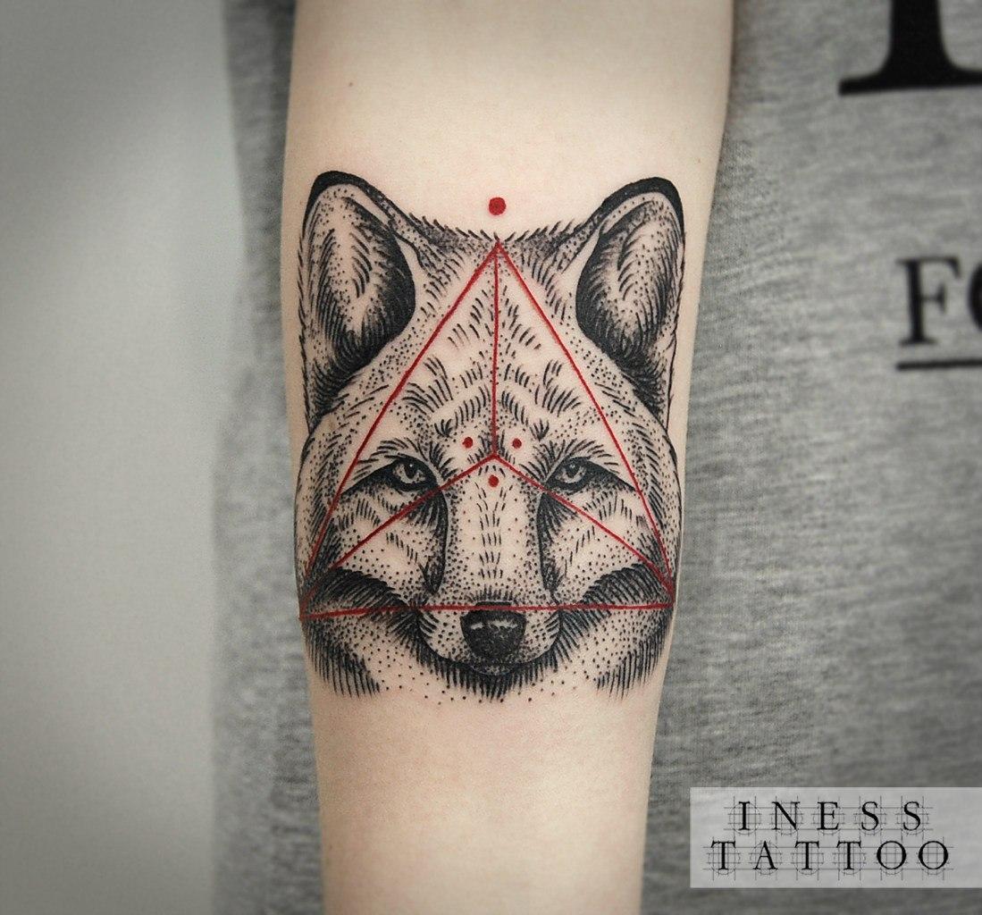 Художественная татуировка «Лиса». Мастер Инесса Кефир.